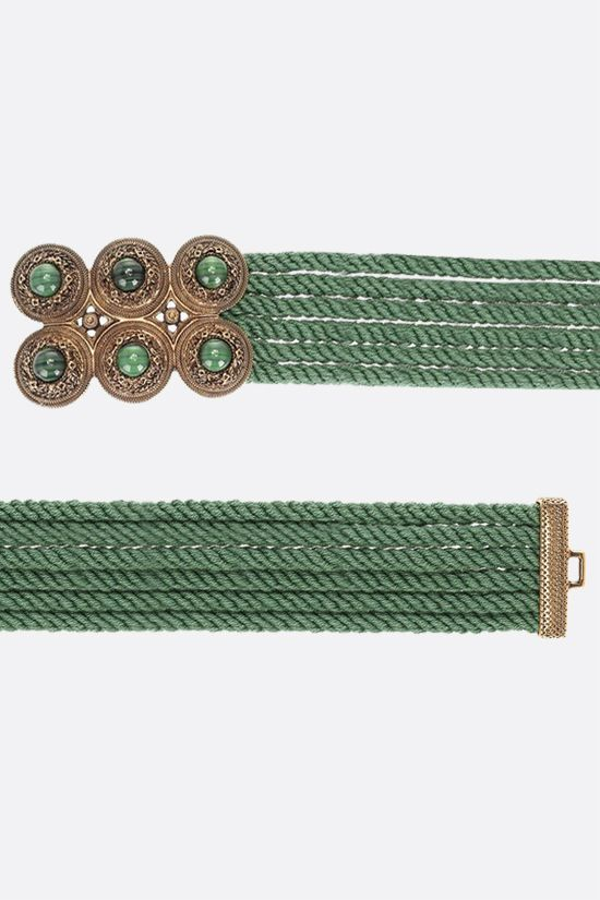 ETRO: jewel buckle-detailed rope belt Color Green_2