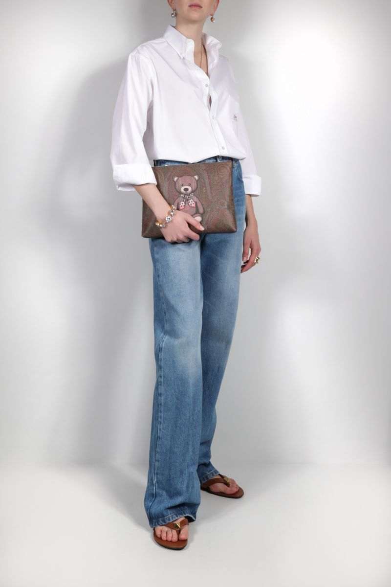 ETRO: Toy print Paisley coated canvas pouch Color Red_2