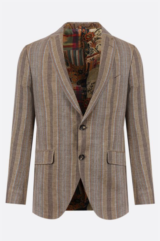 ETRO: striped single-breasted linen jacket Color Neutral_1