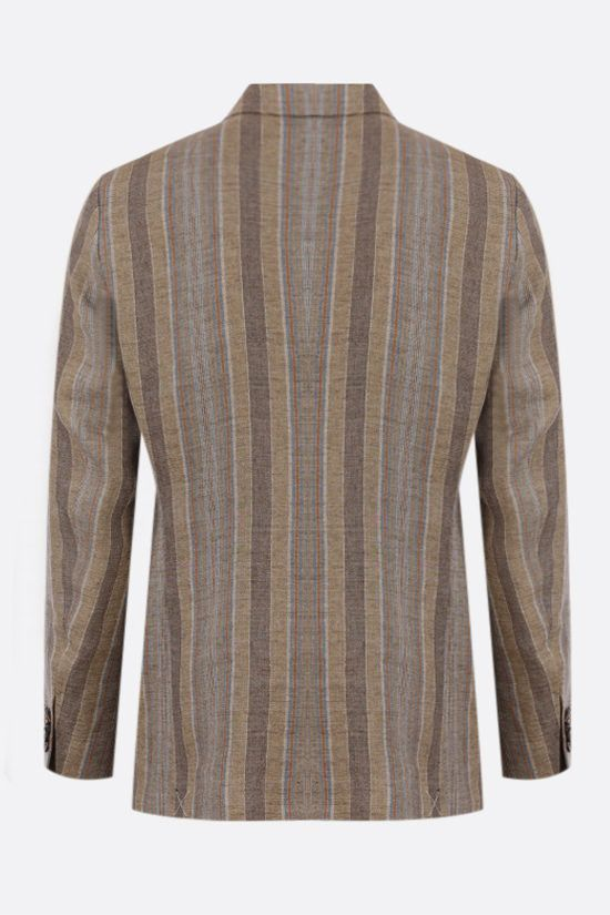 ETRO: striped single-breasted linen jacket Color Neutral_2