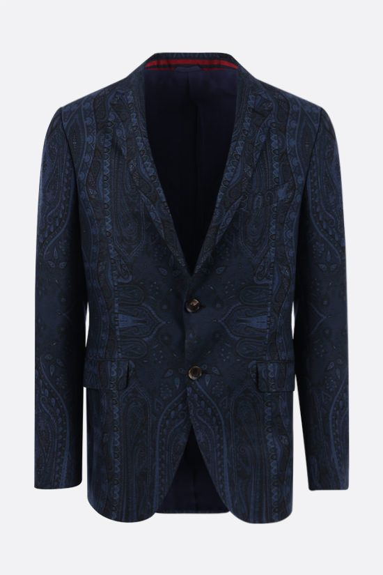 ETRO: paisley print single-breasted wool jacket Color Blue_1