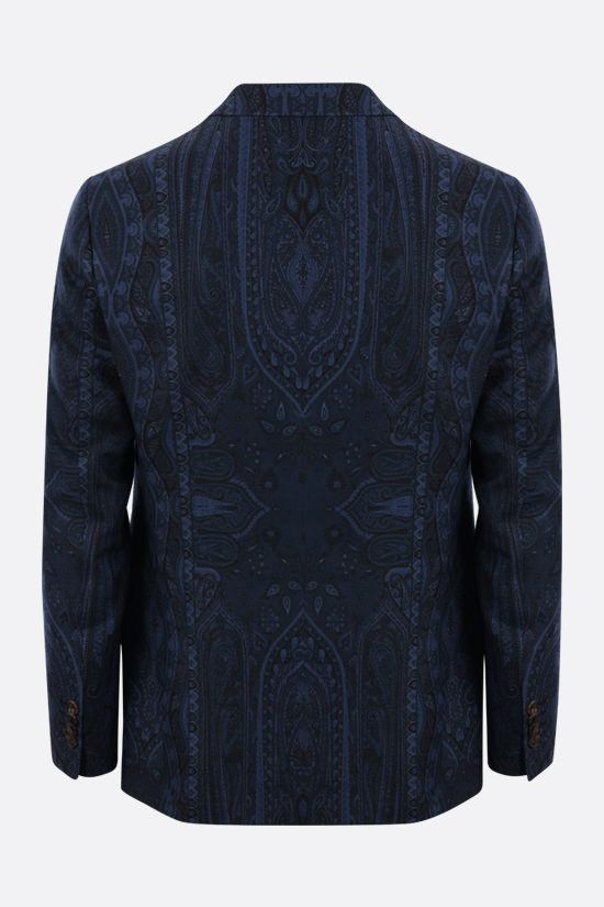 ETRO: paisley print single-breasted wool jacket Color Blue_2