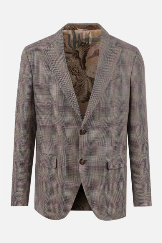 ETRO: prince of Wales single-breasted wool linen blend jacket Color Neutral_1