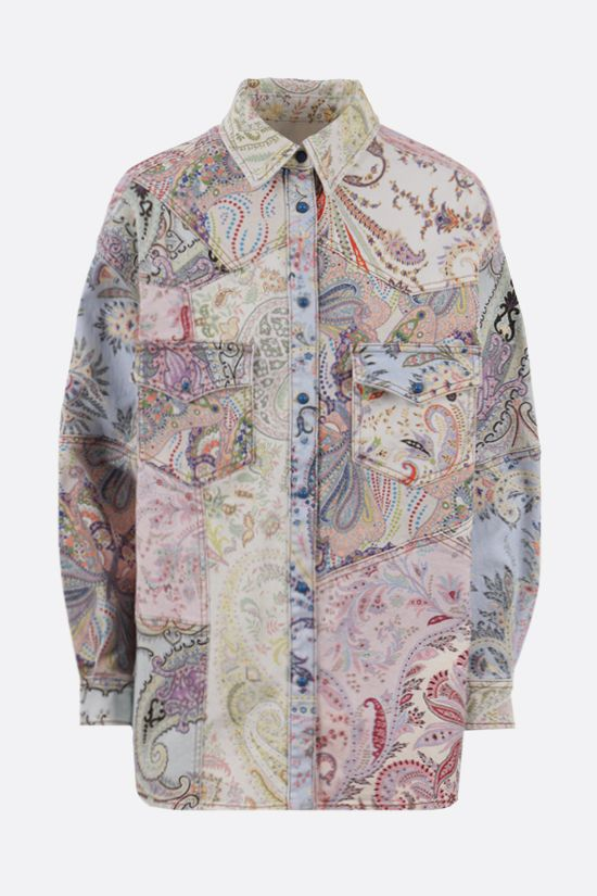 ETRO: floral paisley print denim overshirt Color Multicolor_1