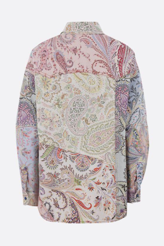 ETRO: floral paisley print denim overshirt Color Multicolor_2