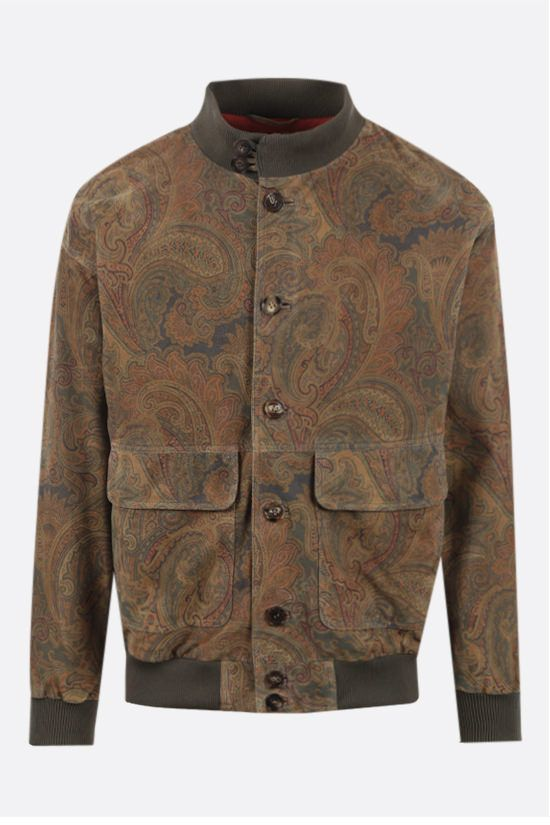 ETRO: paisley print suede bomber jacket Color Multicolor_1