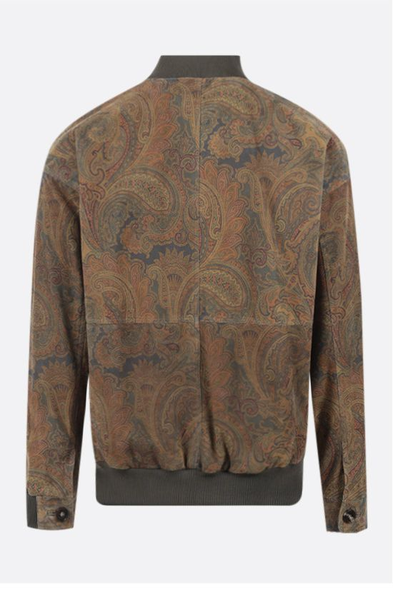 ETRO: paisley print suede bomber jacket Color Multicolor_2