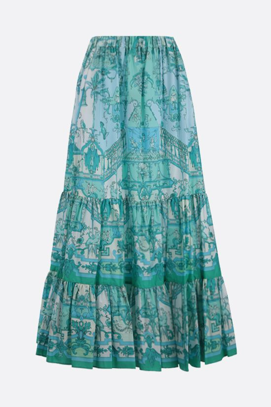 ETRO: scarf print cotton long skirt Color Blue_1