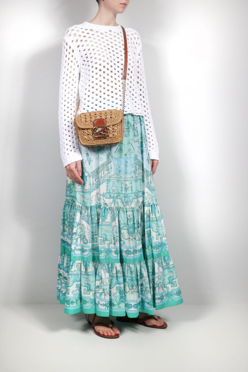 ETRO: scarf print cotton long skirt Color Blue_2