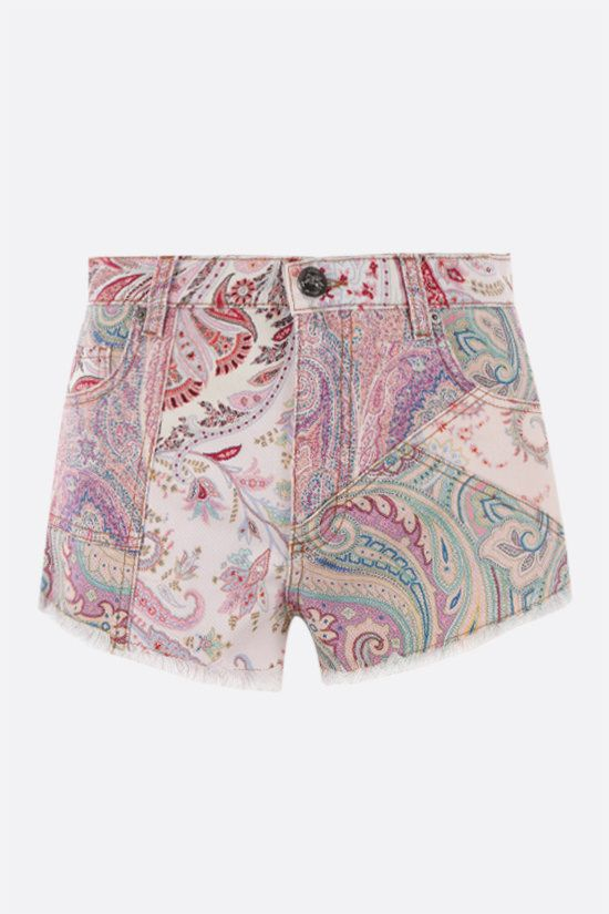 ETRO: floral paisley print denim shorts Color Multicolor_1