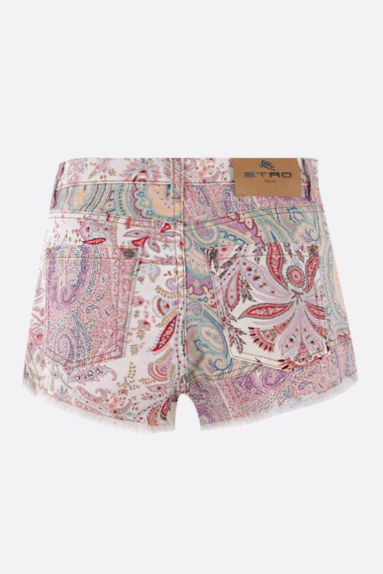 ETRO: floral paisley print denim shorts Color Multicolor_2