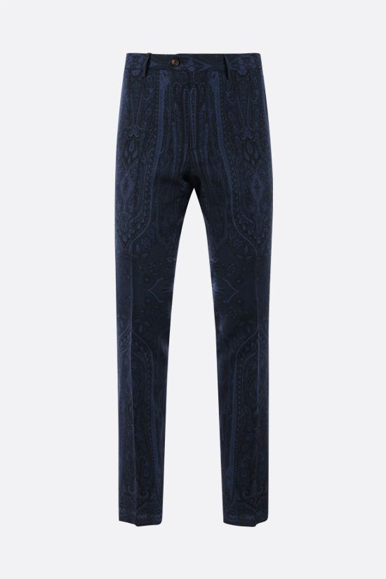 ETRO: pantalone slim-fit in lana stampa paisley Colore Blu_1