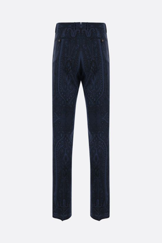 ETRO: pantalone slim-fit in lana stampa paisley Colore Blu_2