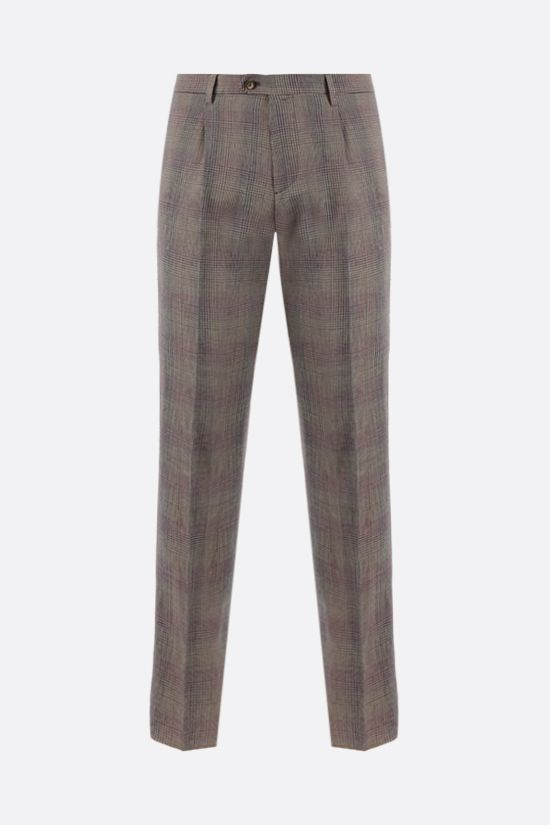 ETRO: pantalone slim-fit in lino e lana principe di Galles Colore Neutro_1