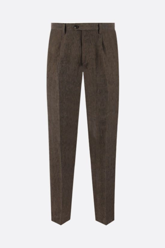 ETRO: pantalone slim-fit in lino con pinces Colore Marrone_1
