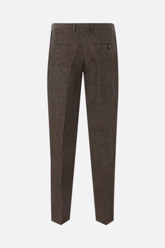 ETRO: pantalone slim-fit in lino con pinces Colore Marrone_2