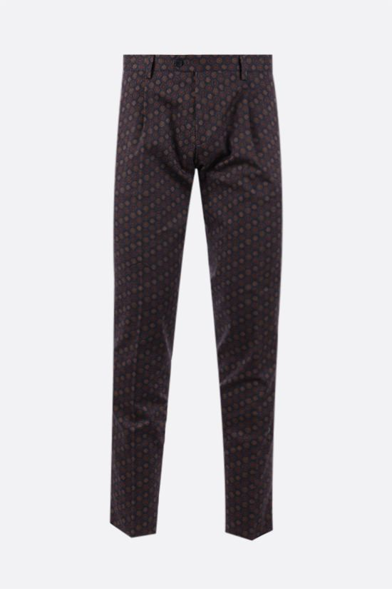 ETRO: pantalone slim-fit in cotone stretch con motivo geometrico Colore Blu_1