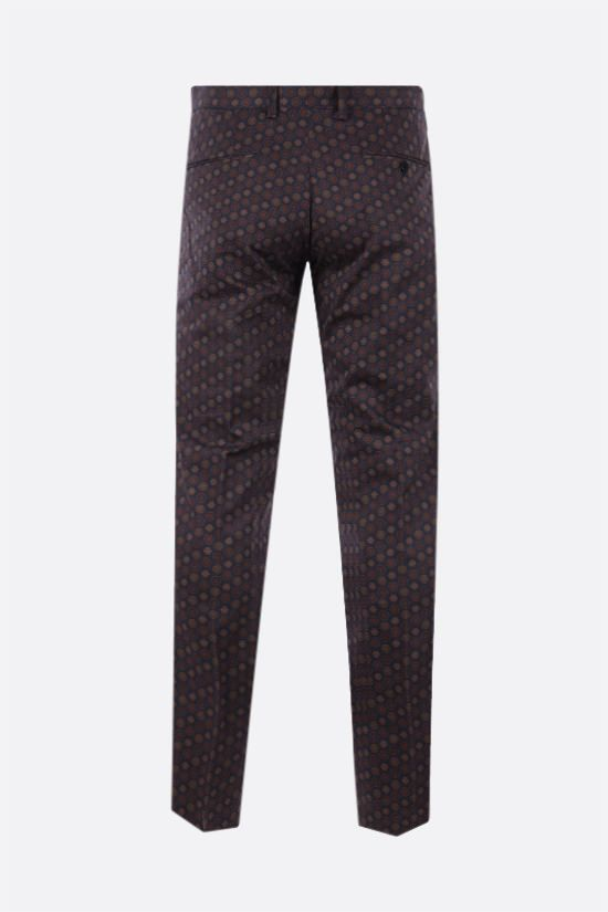ETRO: pantalone slim-fit in cotone stretch con motivo geometrico Colore Blu_2