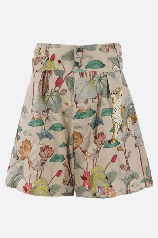 ETRO: tiger and water lily print poplin shorts Color Multicolor_1