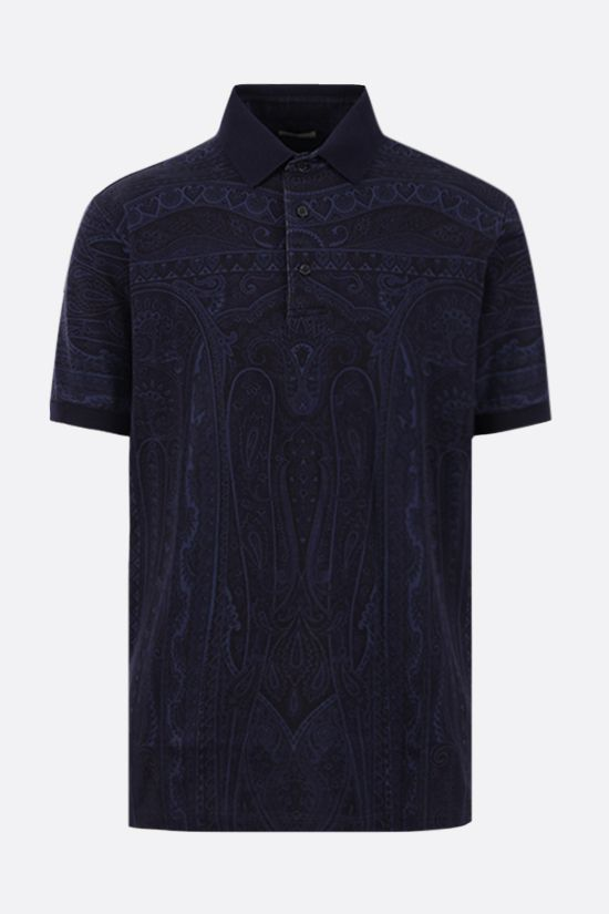 ETRO: paisley print cotton polo shirt Color Blue_1