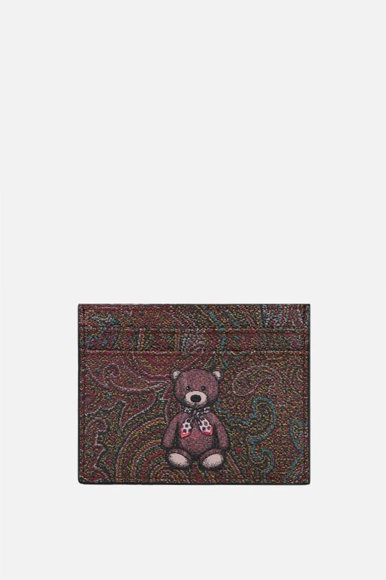 ETRO: Toy print Paisley coated canvas card case Color Red_1