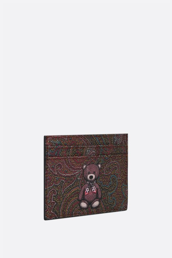 ETRO: Toy print Paisley coated canvas card case Color Red_2