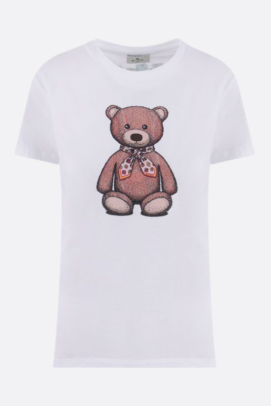 ETRO: t-shirt in cotone stampa Paisley Teddy Bear Colore Bianco_1