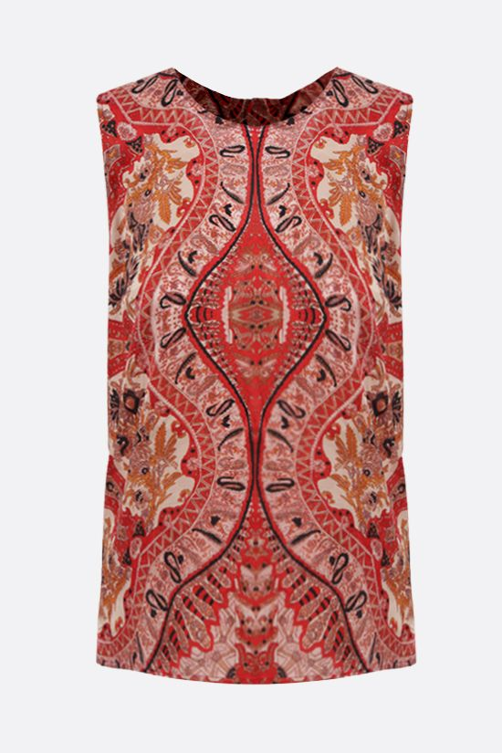 ETRO: floral paisley silk blend top Color Red_1