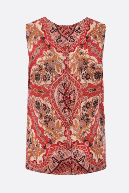 ETRO: floral paisley silk blend top Color Red_2