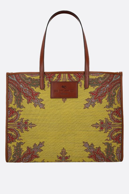 ETRO: Globetrotter jacquard fabric shopping bag Color Yellow_1