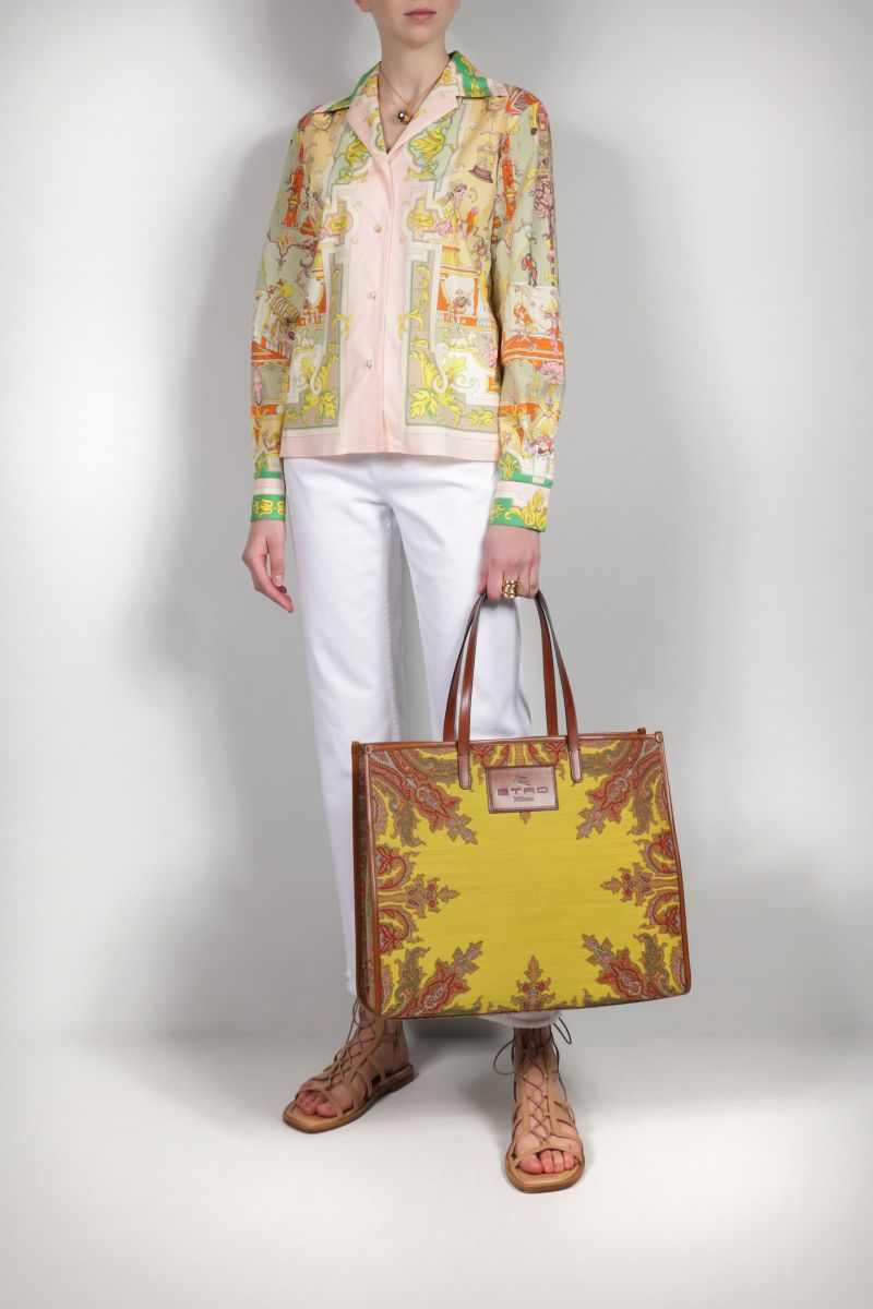 ETRO: Globetrotter jacquard fabric shopping bag Color Yellow_2