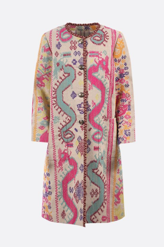 ETRO: single-breasted embroidered jacquard overcoat Color Multicolor_1