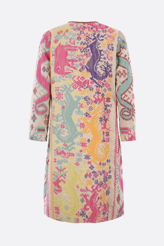 ETRO: single-breasted embroidered jacquard overcoat Color Multicolor_2