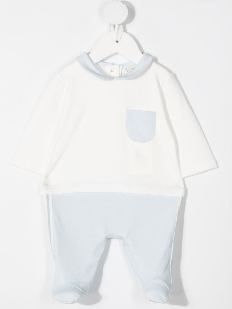FENDI KIDS: FF-detailed cotton babygrow, beanie and bib Color Blue_2