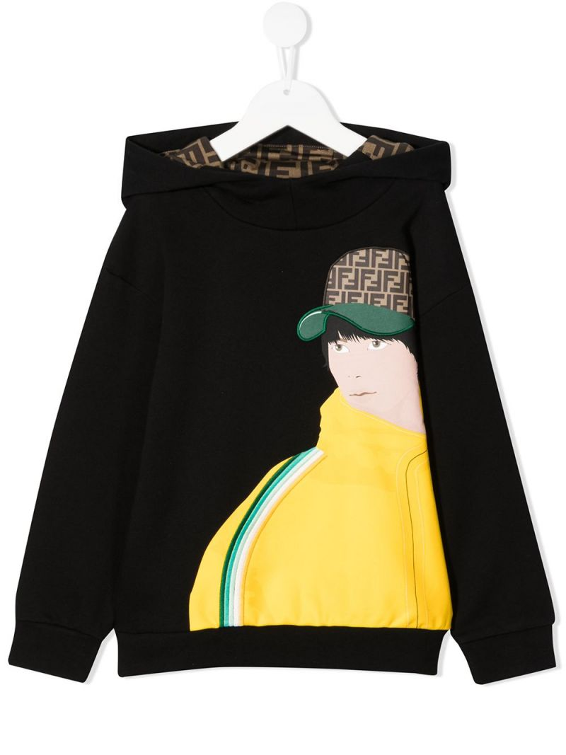 FENDI KIDS: graphic print cotton hoodie Color Black_1