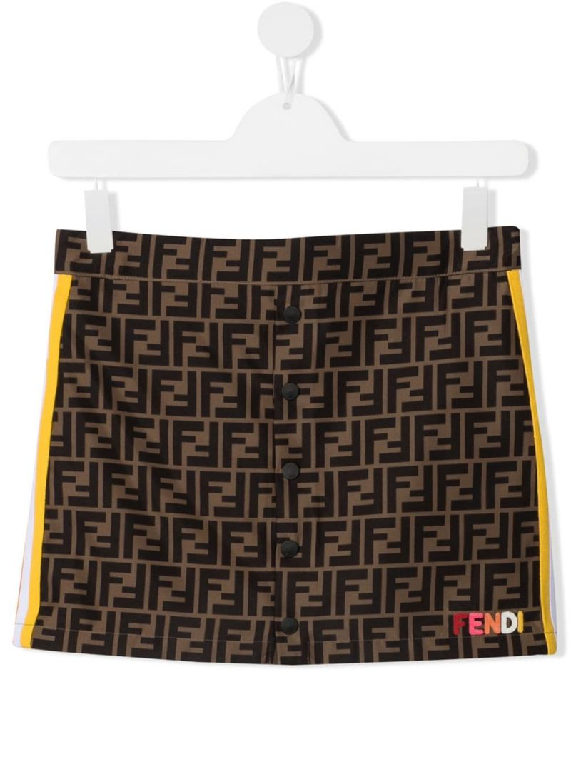 FENDI KIDS: FF nylon skirt Color Orange_1
