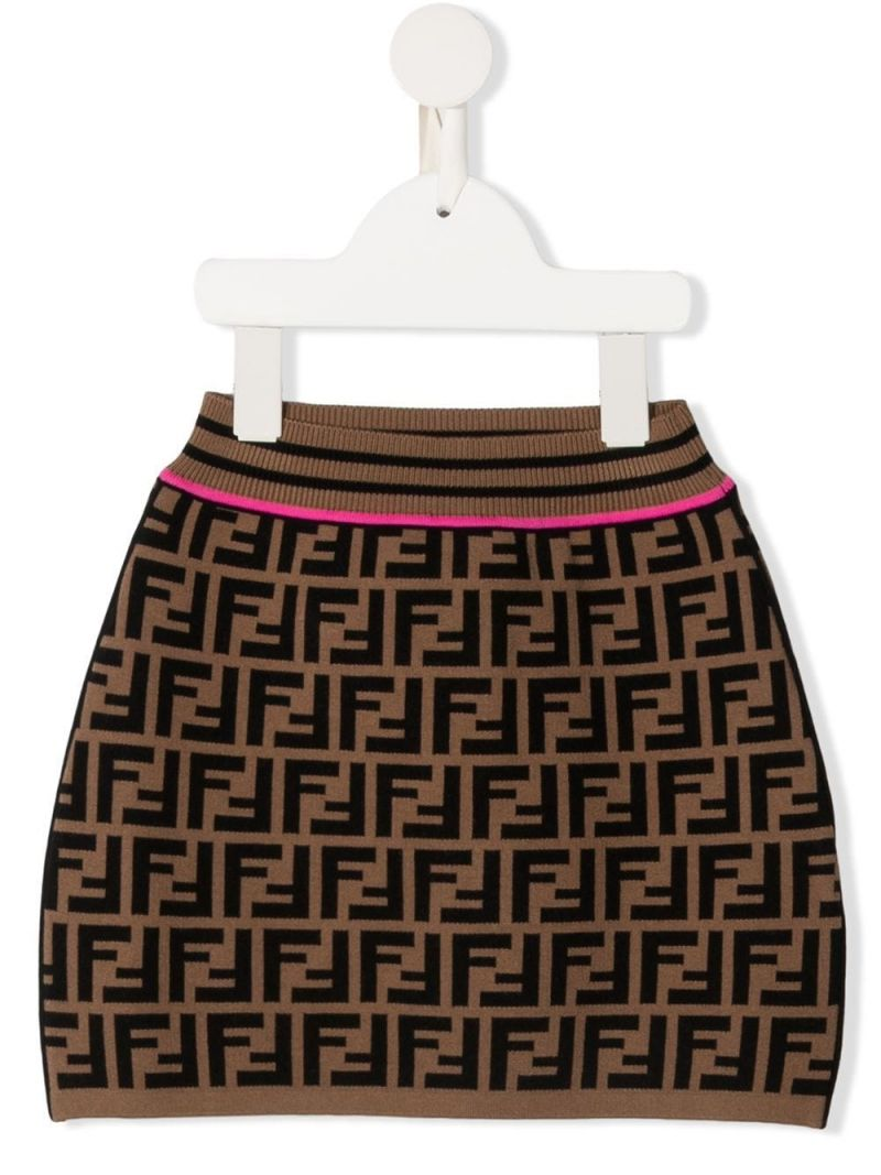 FENDI KIDS: FF stretch knit skirt Color Orange_1