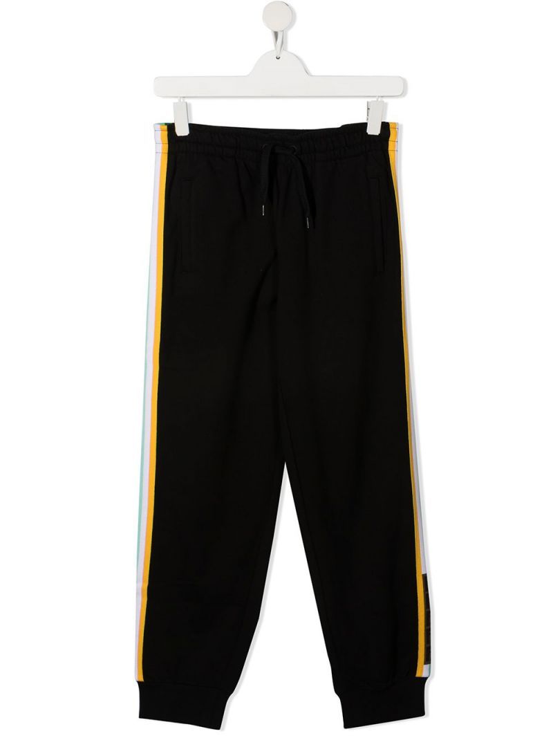 FENDI KIDS: FF-detailed cotton joggers Color Black_1
