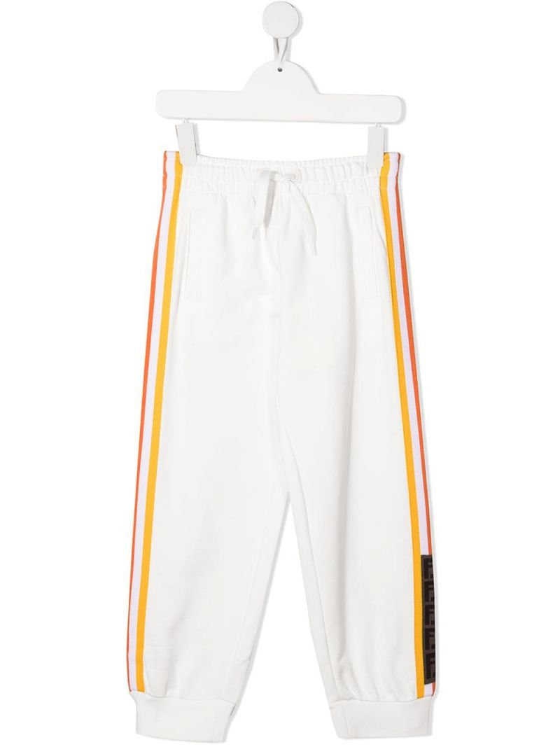 FENDI KIDS: FF-detailed cotton joggers Color White_1