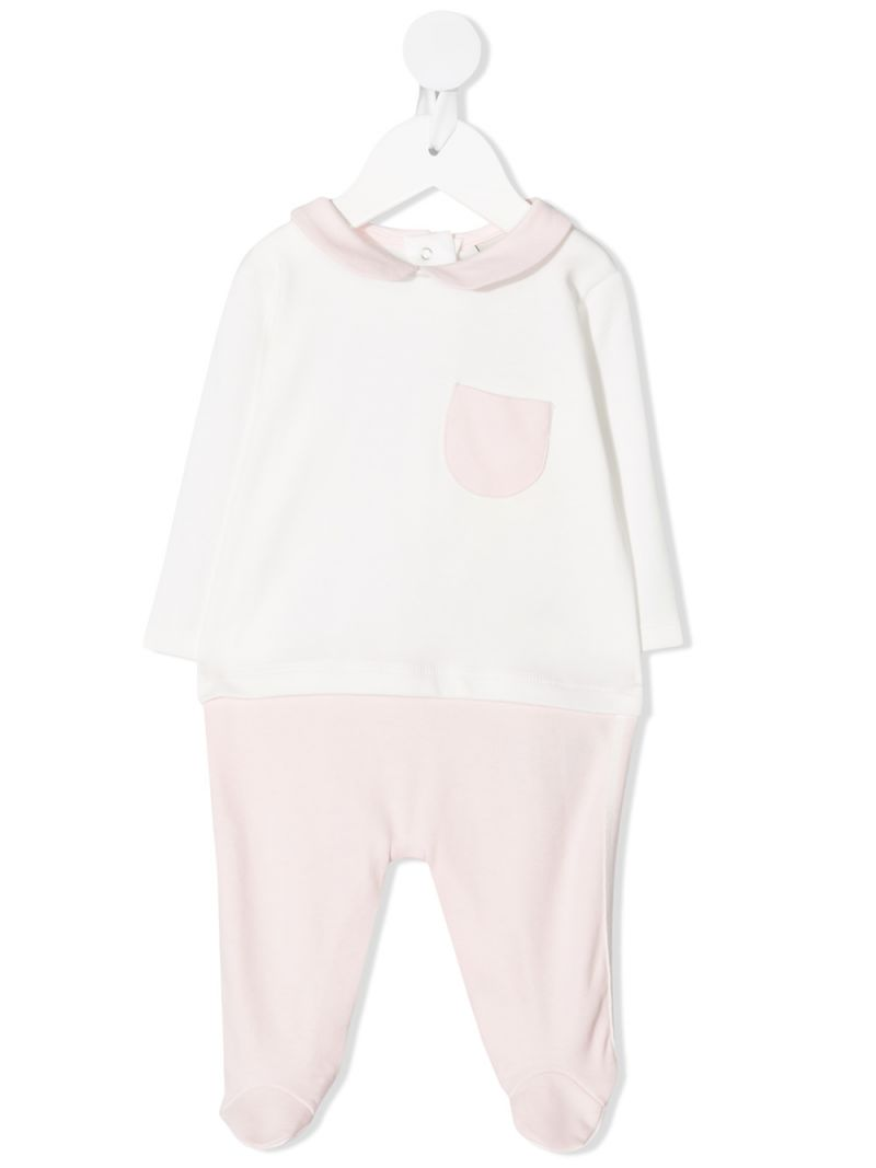 FENDI KIDS: FF-detailed cotton babygrow, beanie and bib Color Pink_1