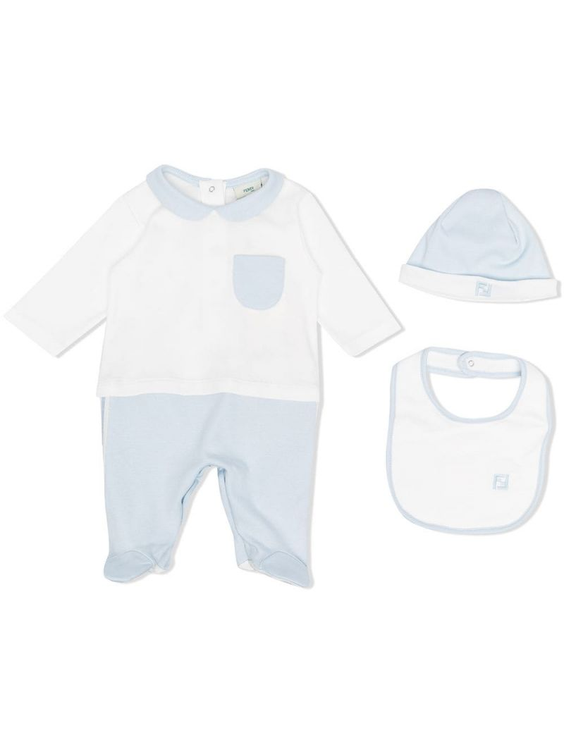 FENDI KIDS: FF-detailed cotton babygrow, beanie and bib Color Blue_1
