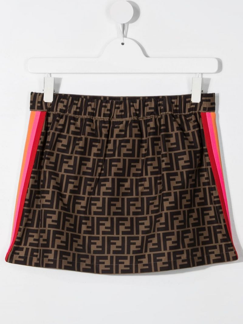 FENDI KIDS: FF nylon skirt Color Orange_2