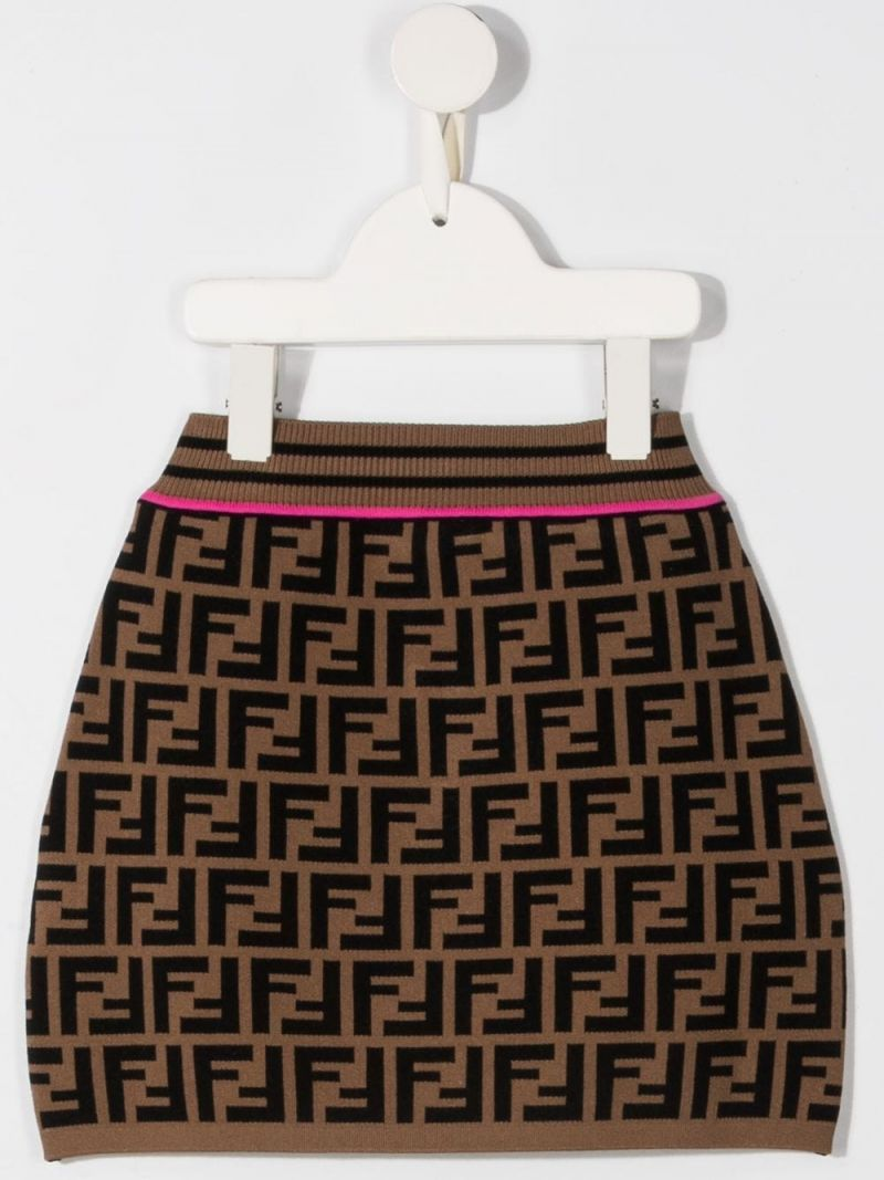 FENDI KIDS: FF stretch knit skirt Color Orange_2