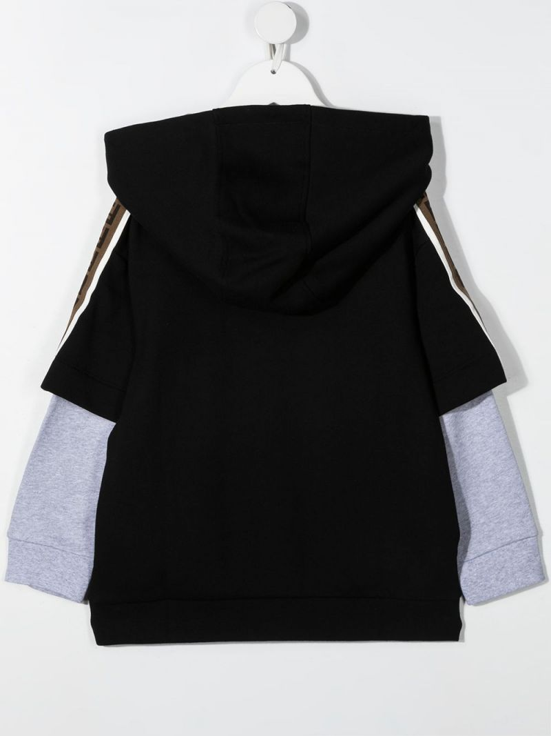 FENDI KIDS: logo print layered-effect cotton hoodie Color Black_2