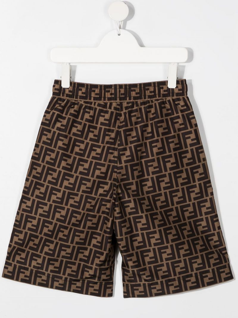 FENDI KIDS: FF print lycra swim shorts Color Orange_2
