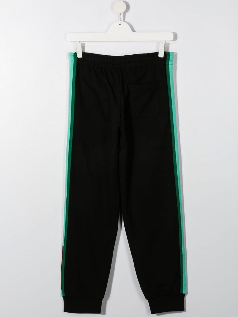 FENDI KIDS: FF-detailed cotton joggers Color Black_2