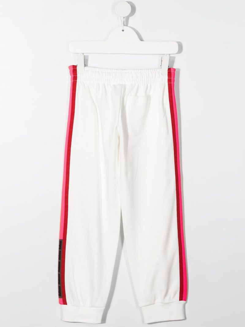 FENDI KIDS: FF-detailed cotton joggers Color White_2