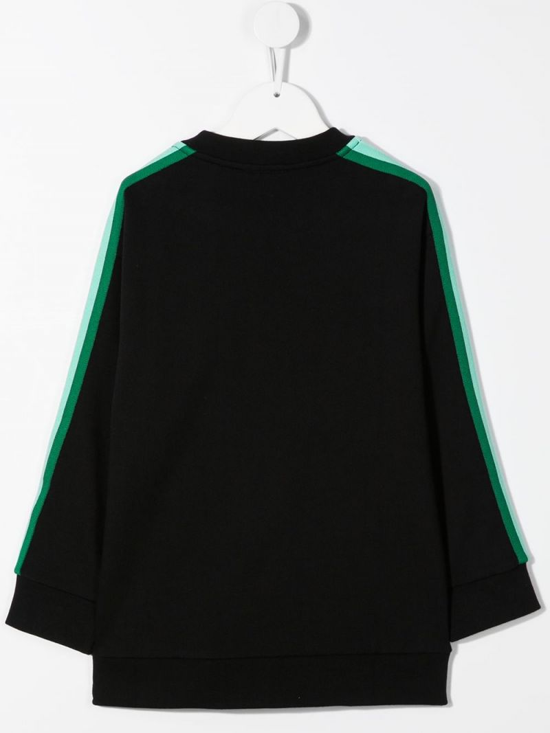 FENDI KIDS: Fendi embroidered cotton sweatshirt Color Black_2