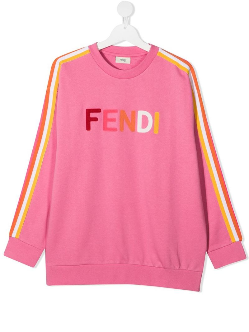 FENDI KIDS: Fendi embroidered cotton sweatshirt Color White_1