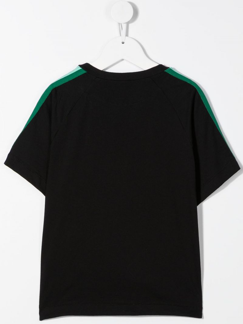 FENDI KIDS: Fendi embroidered cotton t-shirt Color Black_2